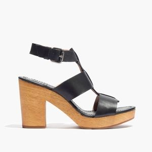 Madewell Irving Block Sandals, Black/Wood, Size 7
